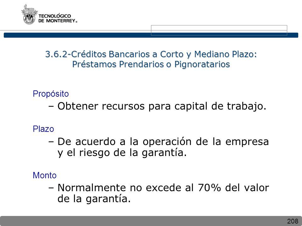 208 3.6.2-Créditos Bancarios a Corto y Mediano Plazo: Préstamos Prendarios o Pignoratarios Propósito –Obtener recursos para capital de trabajo. Plazo