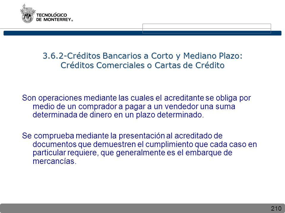 210 3.6.2-Créditos Bancarios a Corto y Mediano Plazo: Créditos Comerciales o Cartas de Crédito Son operaciones mediante las cuales el acreditante se obliga por medio de un comprador a pagar a un vendedor una suma determinada de dinero en un plazo determinado.