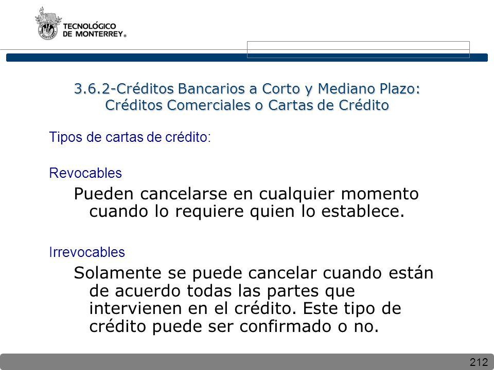 212 3.6.2-Créditos Bancarios a Corto y Mediano Plazo: Créditos Comerciales o Cartas de Crédito Tipos de cartas de crédito: Revocables Pueden cancelarse en cualquier momento cuando lo requiere quien lo establece.