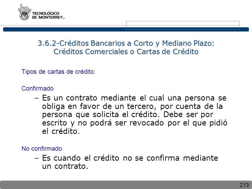 213 3.6.2-Créditos Bancarios a Corto y Mediano Plazo: Créditos Comerciales o Cartas de Crédito Tipos de cartas de crédito: Confirmado –Es un contrato mediante el cual una persona se obliga en favor de un tercero, por cuenta de la persona que solicita el crédito.