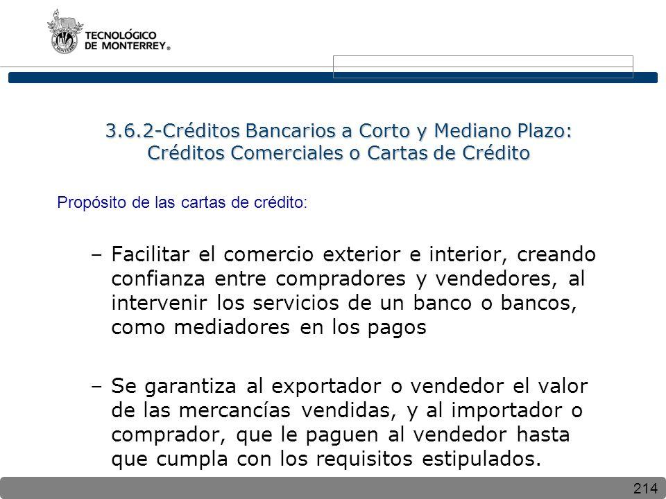 214 3.6.2-Créditos Bancarios a Corto y Mediano Plazo: Créditos Comerciales o Cartas de Crédito Propósito de las cartas de crédito: –Facilitar el comer