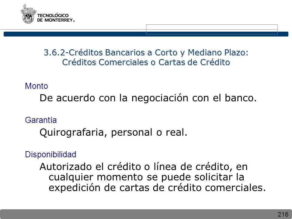 216 3.6.2-Créditos Bancarios a Corto y Mediano Plazo: Créditos Comerciales o Cartas de Crédito Monto De acuerdo con la negociación con el banco. Garan