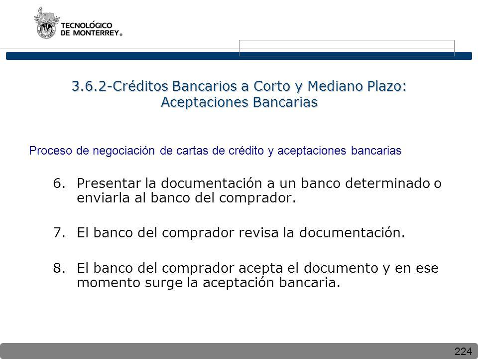 224 3.6.2-Créditos Bancarios a Corto y Mediano Plazo: Aceptaciones Bancarias Proceso de negociación de cartas de crédito y aceptaciones bancarias 6.Presentar la documentación a un banco determinado o enviarla al banco del comprador.