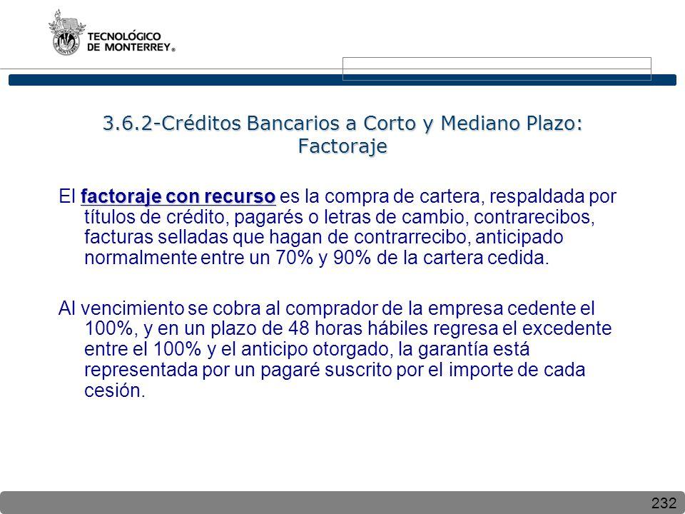 232 3.6.2-Créditos Bancarios a Corto y Mediano Plazo: Factoraje factoraje con recurso El factoraje con recurso es la compra de cartera, respaldada por