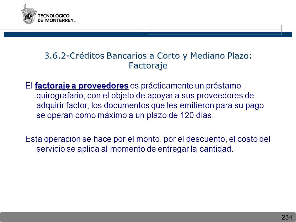 234 3.6.2-Créditos Bancarios a Corto y Mediano Plazo: Factoraje factoraje a proveedores El factoraje a proveedores es prácticamente un préstamo quirog