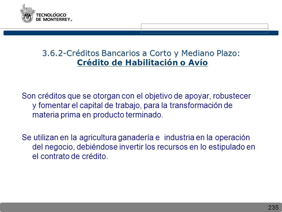 235 3.6.2-Créditos Bancarios a Corto y Mediano Plazo: 3.6.2-Créditos Bancarios a Corto y Mediano Plazo: Crédito de Habilitación o Avío Son créditos qu