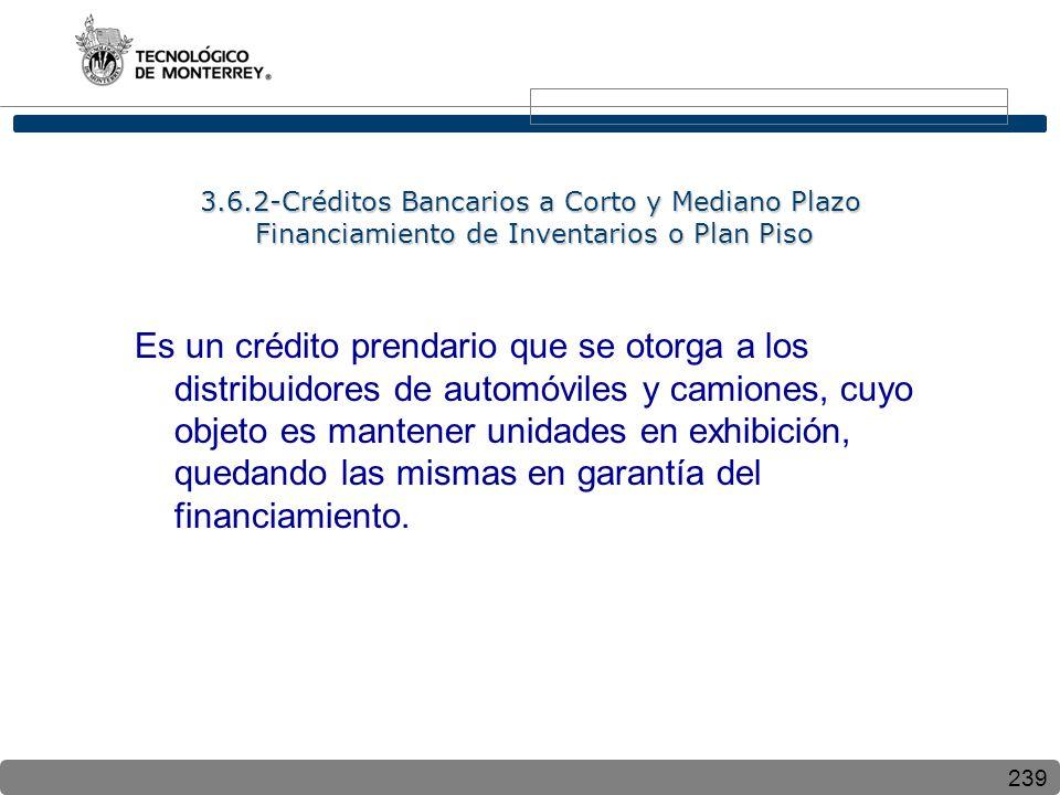 239 3.6.2-Créditos Bancarios a Corto y Mediano Plazo Financiamiento de Inventarios o Plan Piso Es un crédito prendario que se otorga a los distribuidores de automóviles y camiones, cuyo objeto es mantener unidades en exhibición, quedando las mismas en garantía del financiamiento.