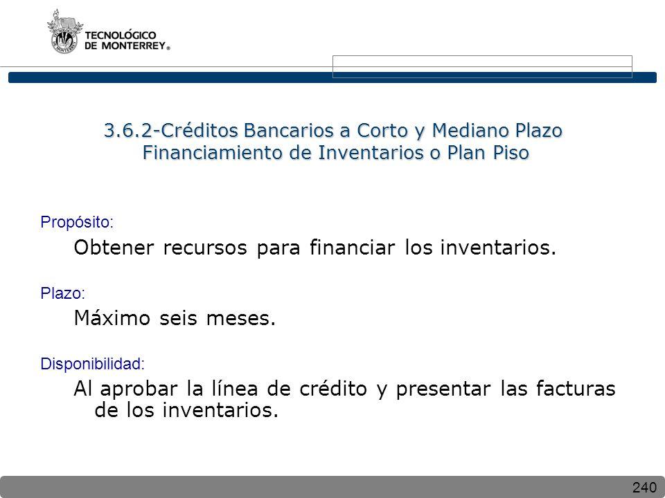 240 3.6.2-Créditos Bancarios a Corto y Mediano Plazo Financiamiento de Inventarios o Plan Piso Propósito: Obtener recursos para financiar los inventar