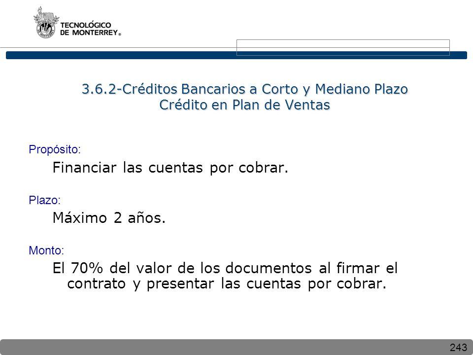 243 3.6.2-Créditos Bancarios a Corto y Mediano Plazo Crédito en Plan de Ventas Propósito: Financiar las cuentas por cobrar. Plazo: Máximo 2 años. Mont