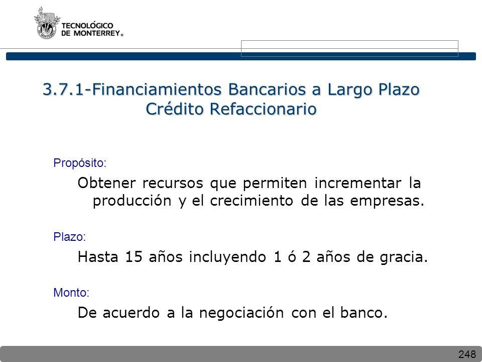 248 3.7.1-Financiamientos Bancarios a Largo Plazo Crédito Refaccionario Propósito: Obtener recursos que permiten incrementar la producción y el crecimiento de las empresas.