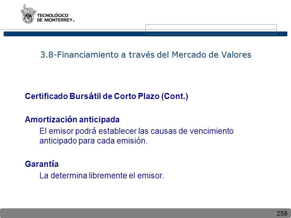 258 3.8-Financiamiento a través del Mercado de Valores Certificado Burs á til de Corto Plazo (Cont.) Amortizaci ó n anticipada El emisor podr á establecer las causas de vencimiento anticipado para cada emisi ó n.