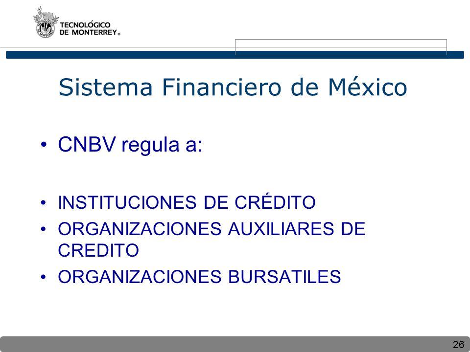26 Sistema Financiero de México CNBV regula a: INSTITUCIONES DE CRÉDITO ORGANIZACIONES AUXILIARES DE CREDITO ORGANIZACIONES BURSATILES