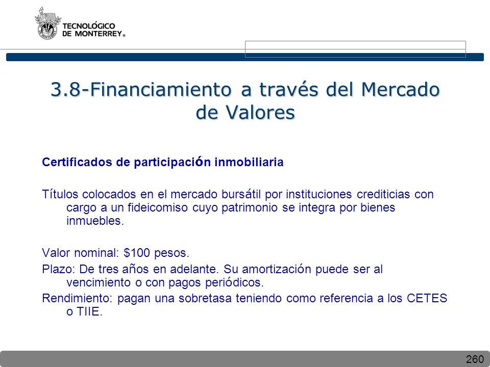 260 3.8-Financiamiento a través del Mercado de Valores Certificados de participaci ó n inmobiliaria T í tulos colocados en el mercado burs á til por i