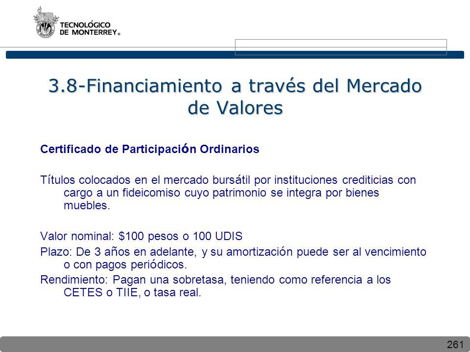 261 3.8-Financiamiento a través del Mercado de Valores Certificado de Participaci ó n Ordinarios T í tulos colocados en el mercado burs á til por inst