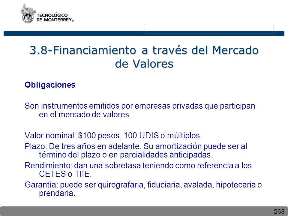 263 3.8-Financiamiento a través del Mercado de Valores Obligaciones Son instrumentos emitidos por empresas privadas que participan en el mercado de valores.