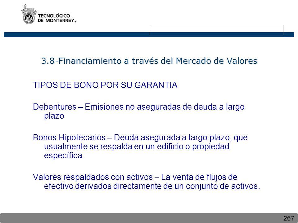 267 TIPOS DE BONO POR SU GARANTIA Debentures – Emisiones no aseguradas de deuda a largo plazo Bonos Hipotecarios – Deuda asegurada a largo plazo, que usualmente se respalda en un edificio o propiedad específica.