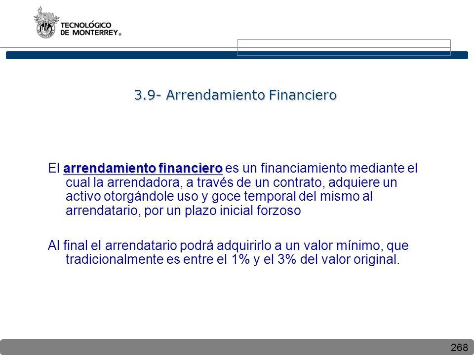 268 3.9- Arrendamiento Financiero arrendamiento financiero El arrendamiento financiero es un financiamiento mediante el cual la arrendadora, a través