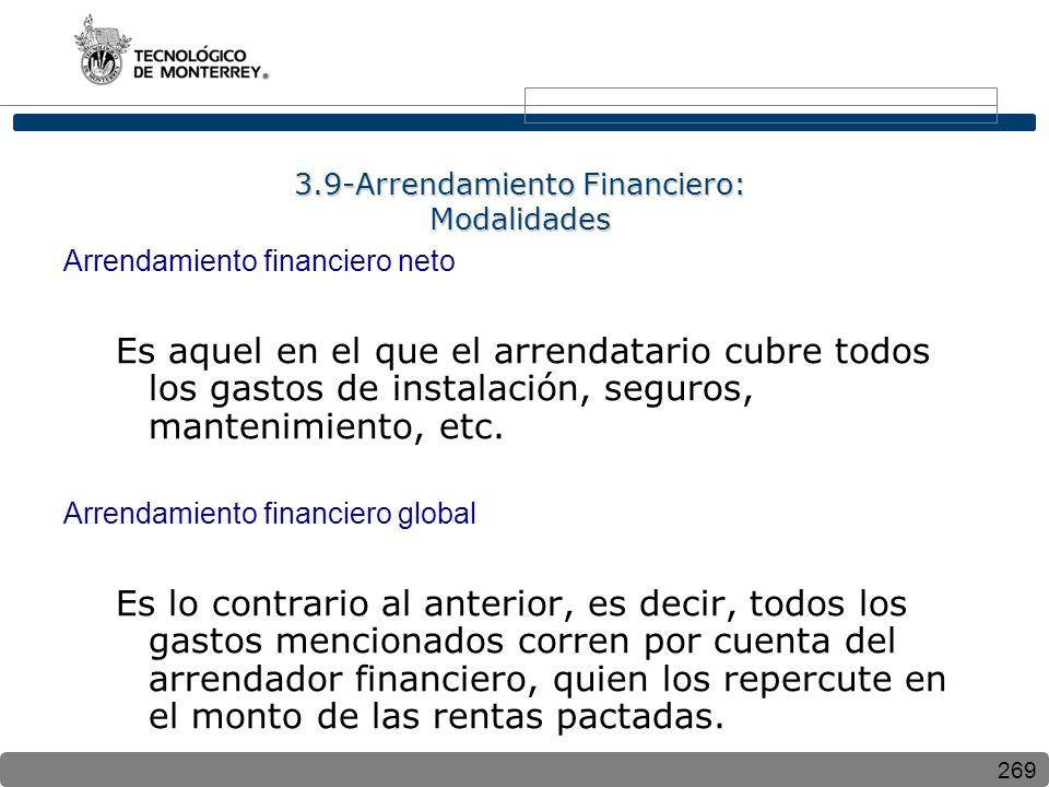 269 3.9-Arrendamiento Financiero: Modalidades Arrendamiento financiero neto Es aquel en el que el arrendatario cubre todos los gastos de instalación, seguros, mantenimiento, etc.