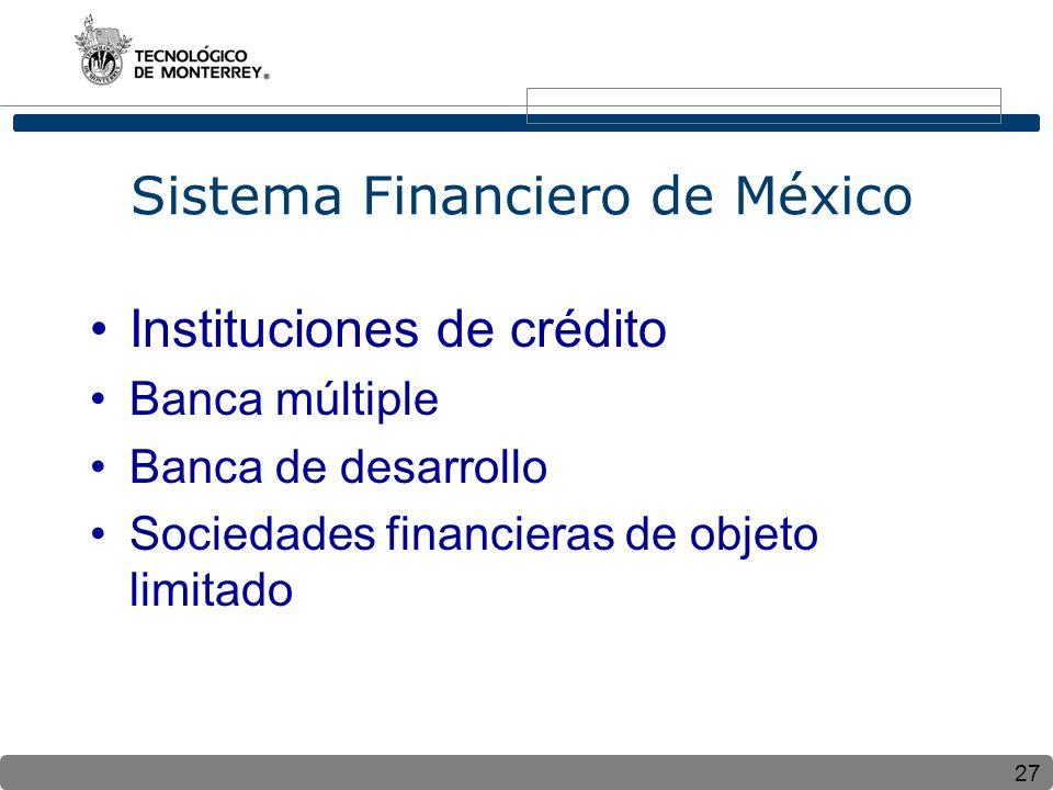27 Sistema Financiero de México Instituciones de crédito Banca múltiple Banca de desarrollo Sociedades financieras de objeto limitado