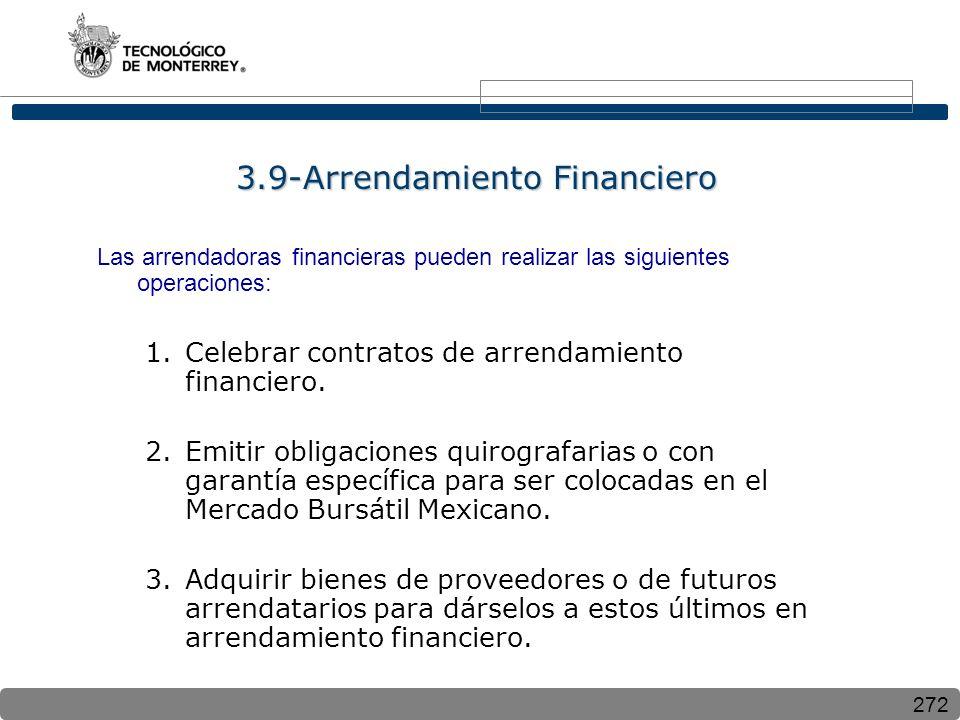 272 3.9-Arrendamiento Financiero Las arrendadoras financieras pueden realizar las siguientes operaciones: 1.Celebrar contratos de arrendamiento financ