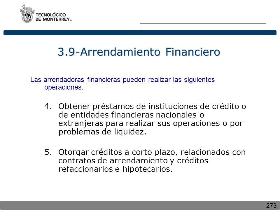273 3.9-Arrendamiento Financiero Las arrendadoras financieras pueden realizar las siguientes operaciones: 4.Obtener préstamos de instituciones de crédito o de entidades financieras nacionales o extranjeras para realizar sus operaciones o por problemas de liquidez.