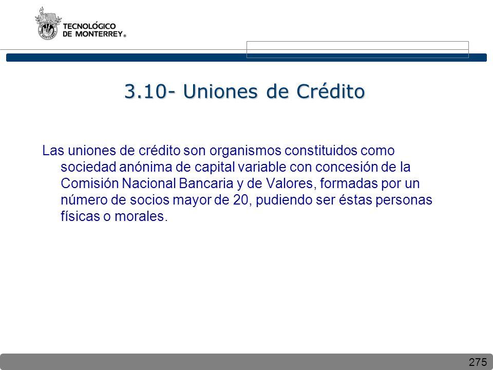 275 3.10- Uniones de Crédito Las uniones de crédito son organismos constituidos como sociedad anónima de capital variable con concesión de la Comisión
