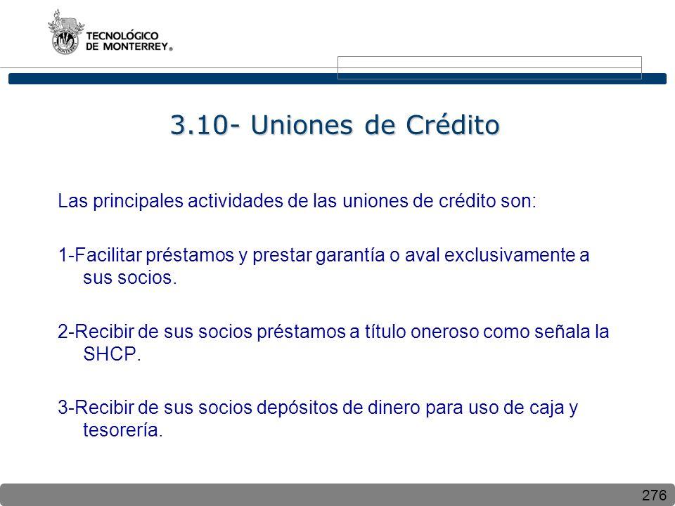 276 3.10- Uniones de Crédito Las principales actividades de las uniones de crédito son: 1-Facilitar préstamos y prestar garantía o aval exclusivamente