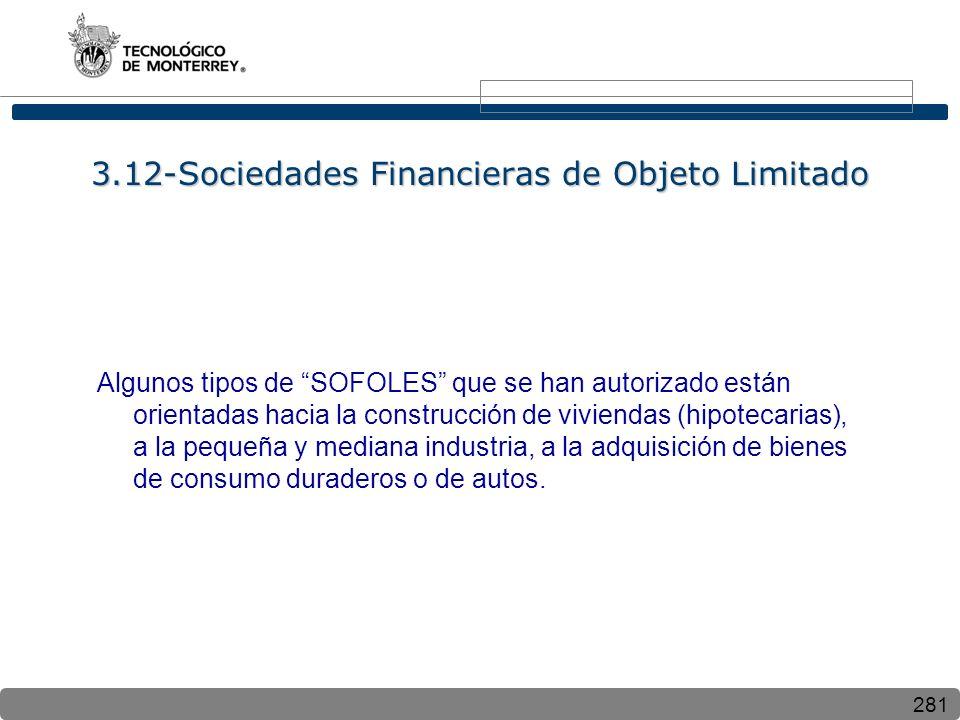 281 3.12-Sociedades Financieras de Objeto Limitado Algunos tipos de SOFOLES que se han autorizado están orientadas hacia la construcción de viviendas