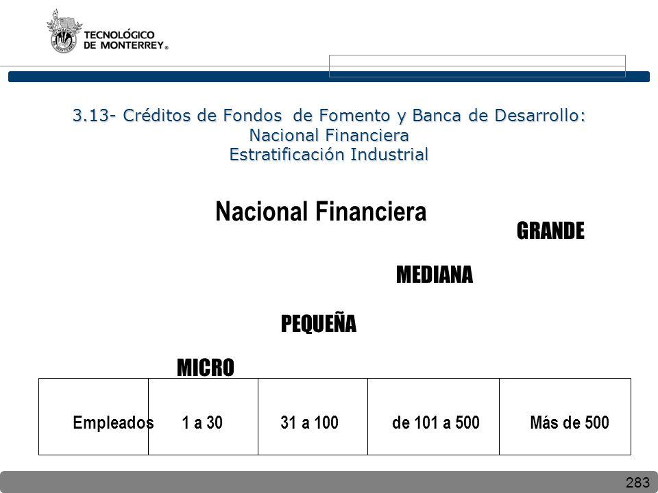 283 3.13- Créditos de Fondos de Fomento y Banca de Desarrollo: Nacional Financiera Estratificación Industrial Nacional Financiera MICRO GRANDE MEDIANA