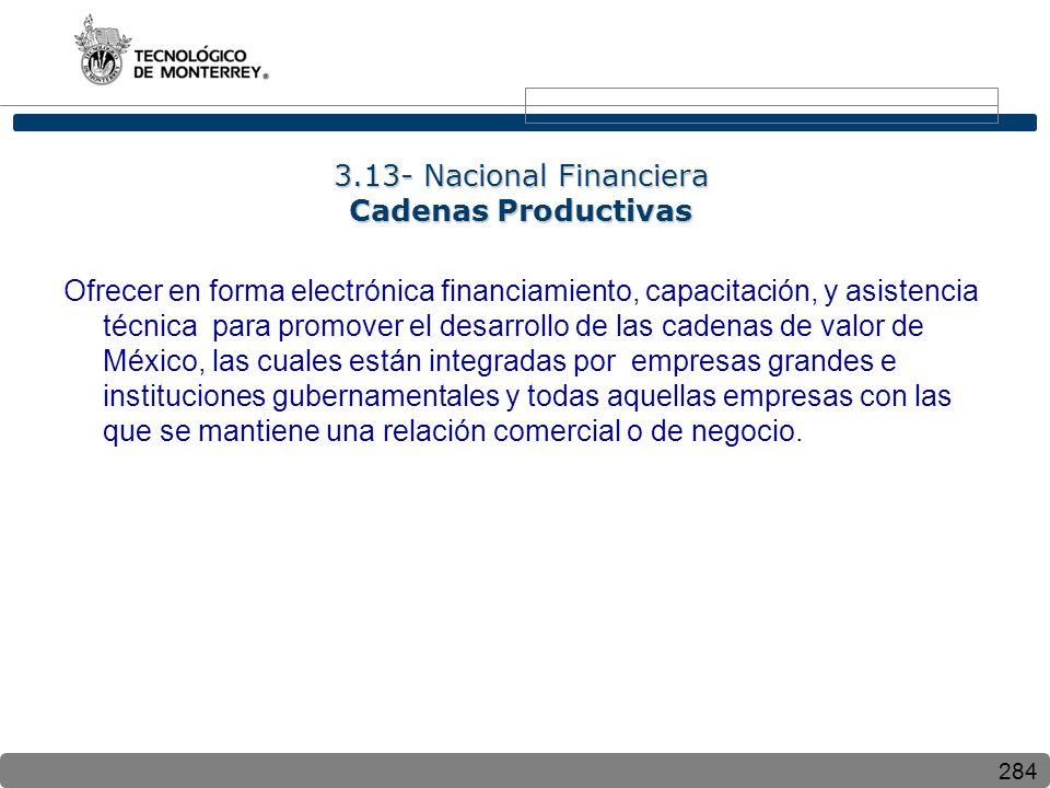 284 3.13- Nacional Financiera Cadenas Productivas Ofrecer en forma electrónica financiamiento, capacitación, y asistencia técnica para promover el desarrollo de las cadenas de valor de México, las cuales están integradas por empresas grandes e instituciones gubernamentales y todas aquellas empresas con las que se mantiene una relación comercial o de negocio.