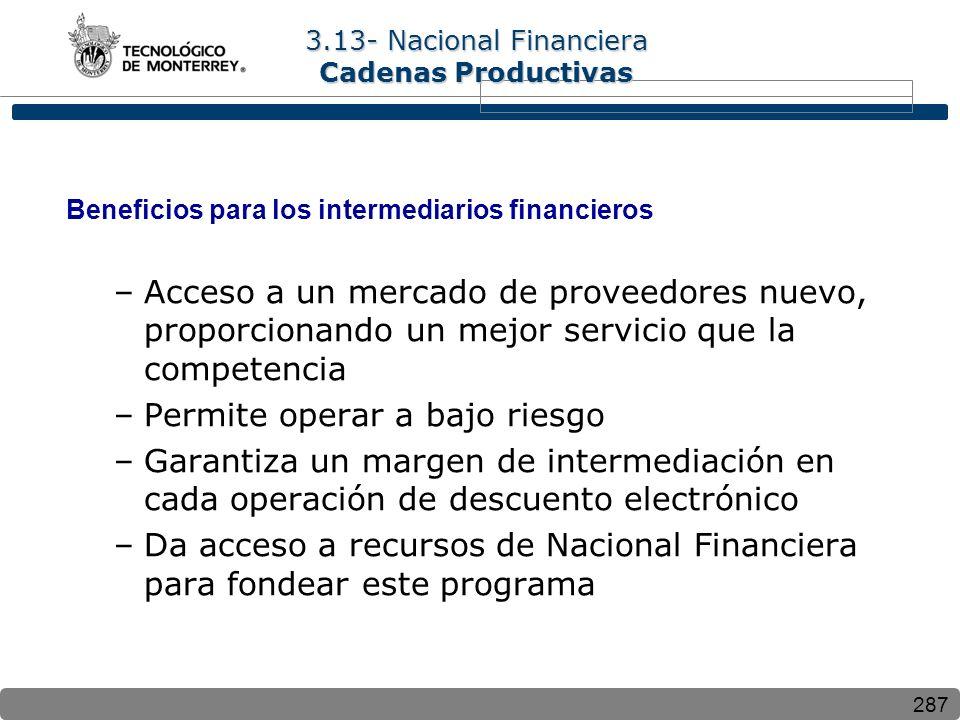 287 Beneficios para los intermediarios financieros –Acceso a un mercado de proveedores nuevo, proporcionando un mejor servicio que la competencia –Per