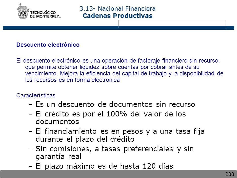 288 Descuento electrónico El descuento electrónico es una operación de factoraje financiero sin recurso, que permite obtener liquidez sobre cuentas por cobrar antes de su vencimiento.