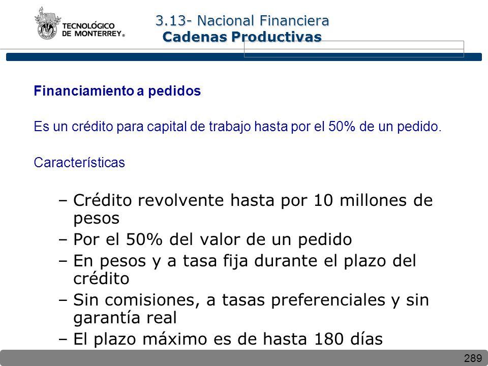 289 Financiamiento a pedidos Es un crédito para capital de trabajo hasta por el 50% de un pedido. Características –Crédito revolvente hasta por 10 mil