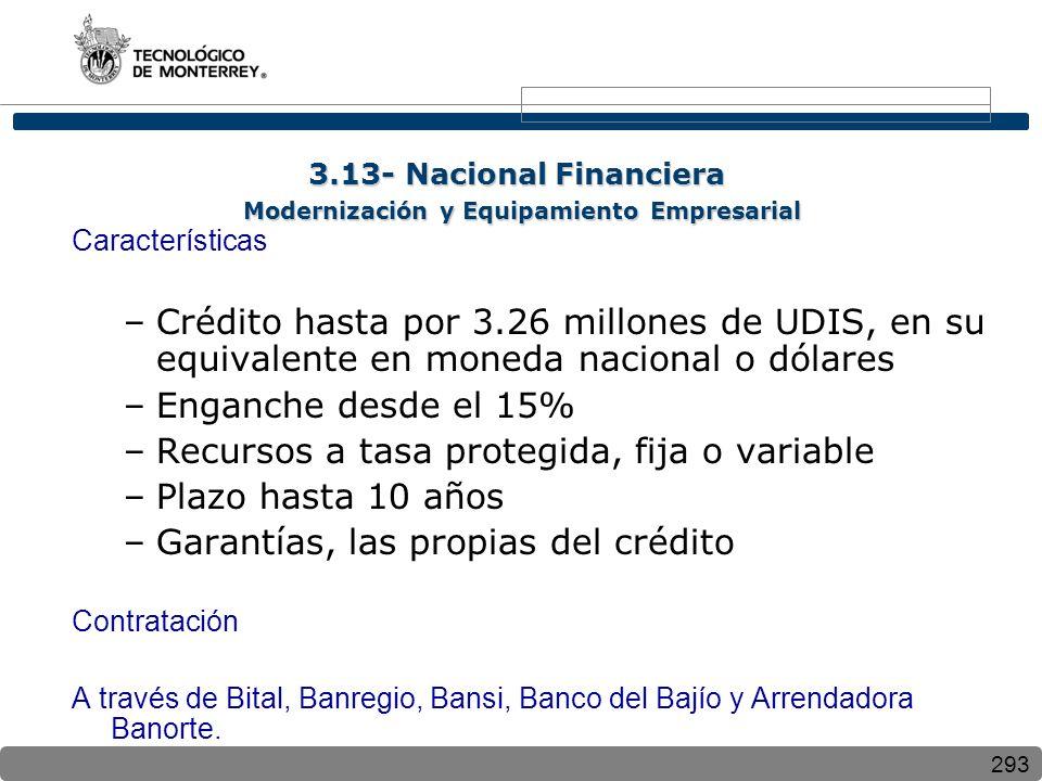 293 Características –Crédito hasta por 3.26 millones de UDIS, en su equivalente en moneda nacional o dólares –Enganche desde el 15% –Recursos a tasa p