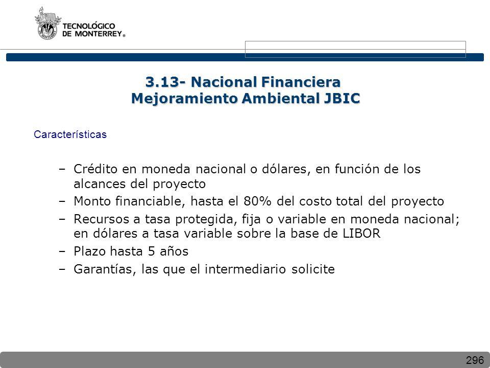 296 Características –Crédito en moneda nacional o dólares, en función de los alcances del proyecto –Monto financiable, hasta el 80% del costo total de