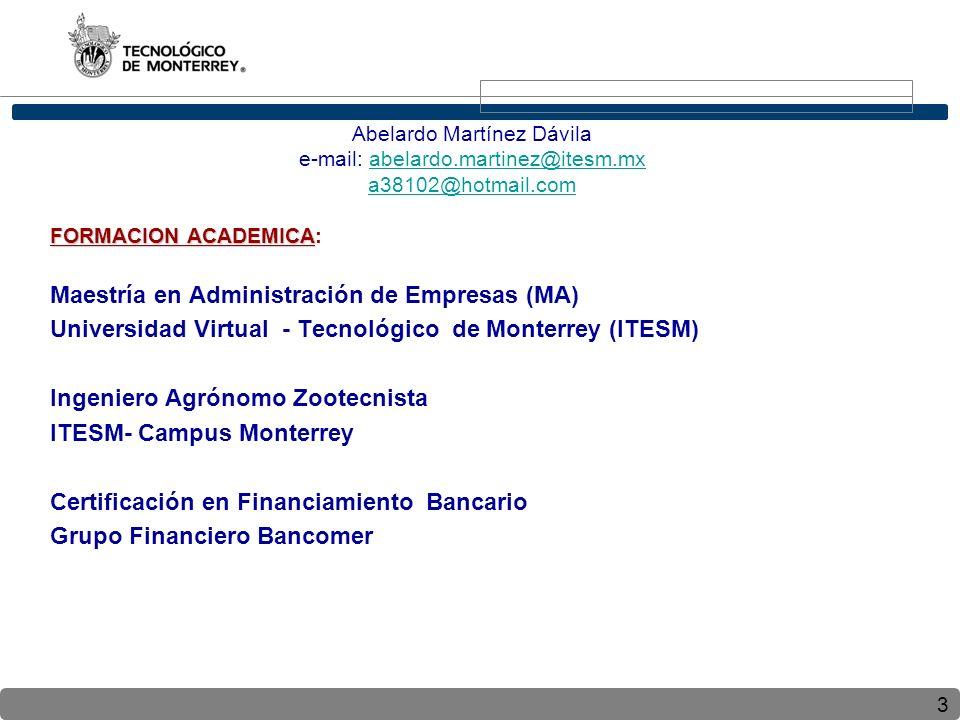 3 Abelardo Martínez Dávila e-mail: abelardo.martinez@itesm.mxabelardo.martinez@itesm.mx a38102@hotmail.com FORMACION ACADEMICA FORMACION ACADEMICA: Maestría en Administración de Empresas (MA) Universidad Virtual - Tecnológico de Monterrey (ITESM) Ingeniero Agrónomo Zootecnista ITESM- Campus Monterrey Certificación en Financiamiento Bancario Grupo Financiero Bancomer
