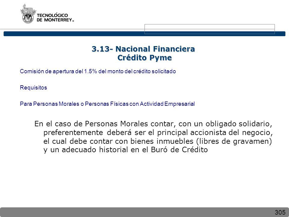 305 Comisión de apertura del 1.5% del monto del crédito solicitado Requisitos Para Personas Morales o Personas Físicas con Actividad Empresarial En el