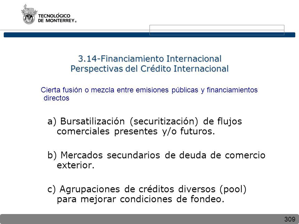 309 3.14-Financiamiento Internacional Perspectivas del Crédito Internacional Cierta fusión o mezcla entre emisiones públicas y financiamientos directos a) Bursatilización (securitización) de flujos comerciales presentes y/o futuros.