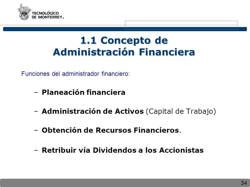 34 1.1 Concepto de Administración Financiera Funciones del administrador financiero: –Planeación financiera –Administración de Activos (Capital de Trabajo) –Obtención de Recursos Financieros.