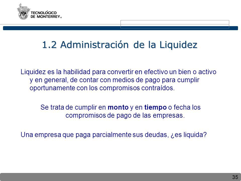 35 1.2 Administración de la Liquidez Liquidez es la habilidad para convertir en efectivo un bien o activo y en general, de contar con medios de pago para cumplir oportunamente con los compromisos contraídos.