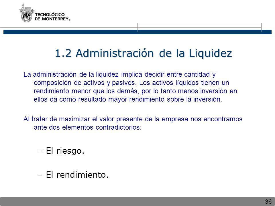36 1.2 Administración de la Liquidez La administración de la liquidez implica decidir entre cantidad y composición de activos y pasivos.