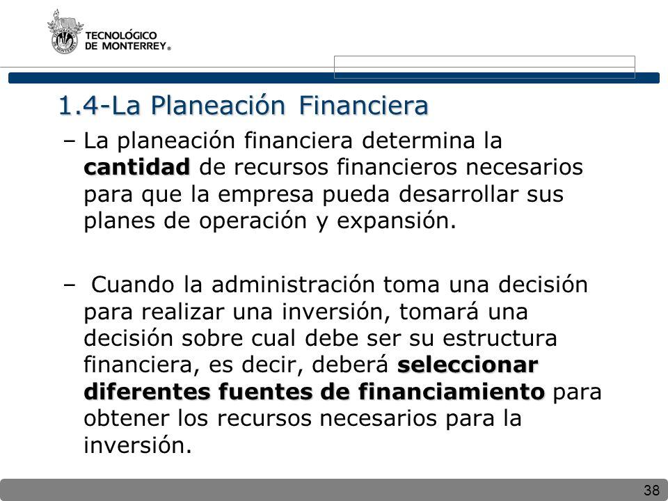 38 1.4-La Planeación Financiera cantidad –La planeación financiera determina la cantidad de recursos financieros necesarios para que la empresa pueda desarrollar sus planes de operación y expansión.
