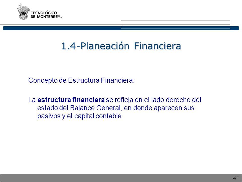 41 Concepto de Estructura Financiera: La estructura financiera se refleja en el lado derecho del estado del Balance General, en donde aparecen sus pasivos y el capital contable.