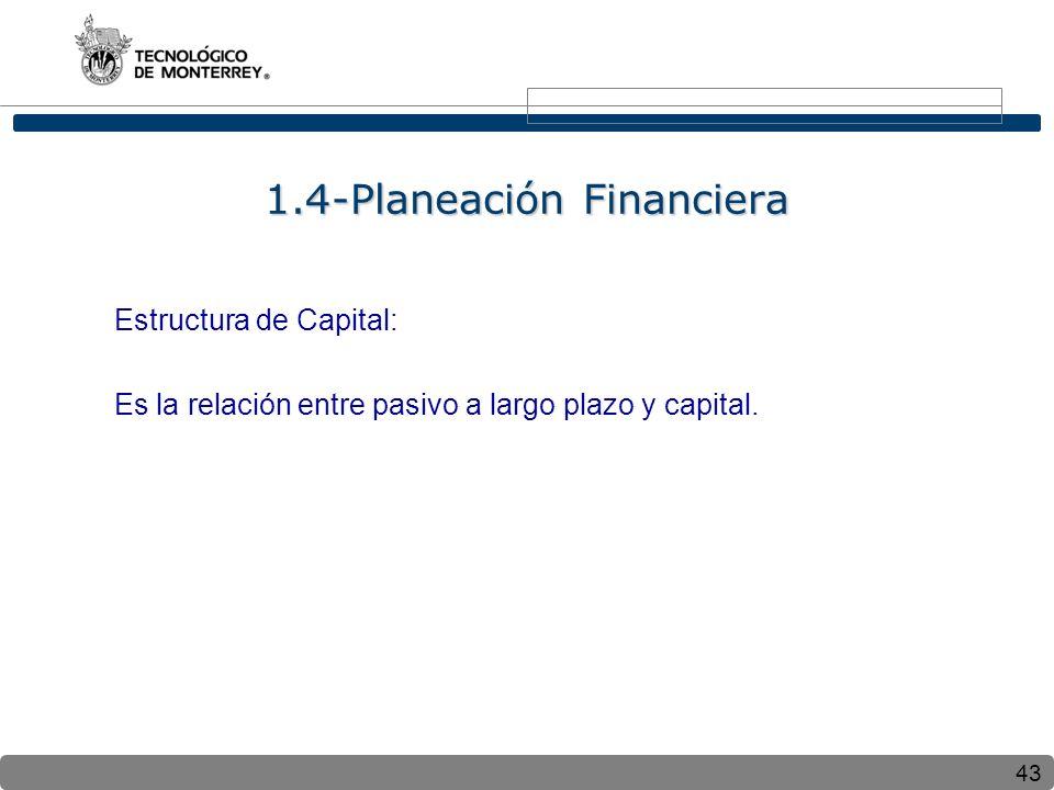 43 Estructura de Capital: Es la relación entre pasivo a largo plazo y capital. 1.4-Planeación Financiera