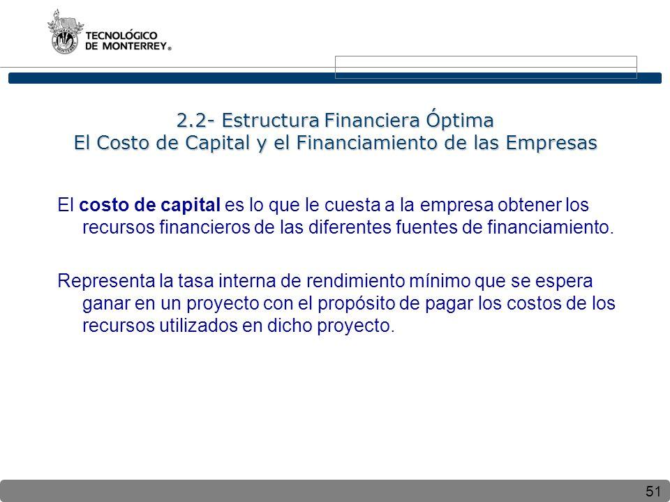 51 2.2- Estructura Financiera Óptima El Costo de Capital y el Financiamiento de las Empresas El costo de capital es lo que le cuesta a la empresa obtener los recursos financieros de las diferentes fuentes de financiamiento.