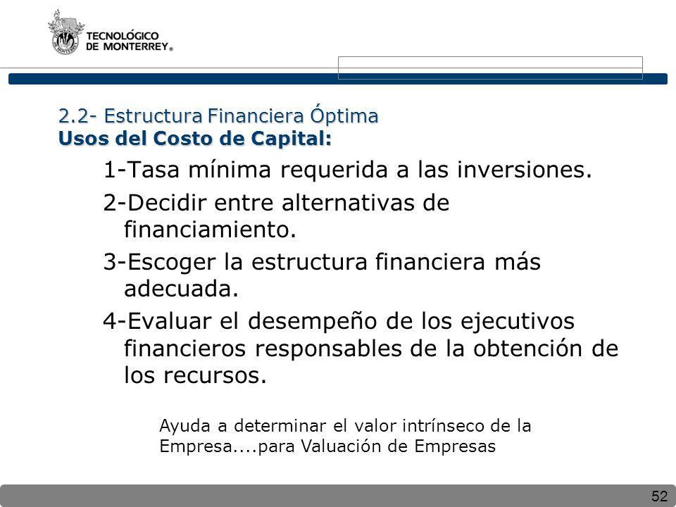 52 2.2- Estructura Financiera Óptima Usos del Costo de Capital: 1-Tasa mínima requerida a las inversiones. 2-Decidir entre alternativas de financiamie