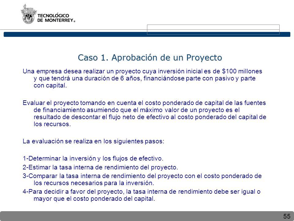55 Caso 1. Aprobación de un Proyecto Caso 1. Aprobación de un Proyecto Una empresa desea realizar un proyecto cuya inversión inicial es de $100 millon