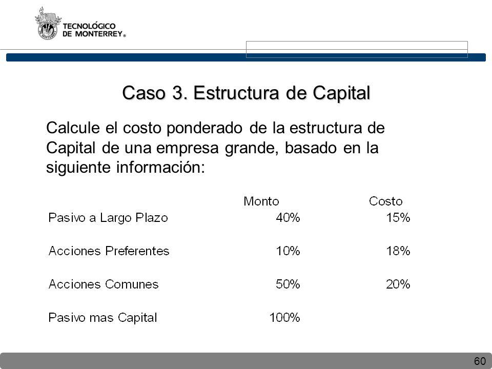 60 Calcule el costo ponderado de la estructura de Capital de una empresa grande, basado en la siguiente información: Caso 3. Estructura de Capital