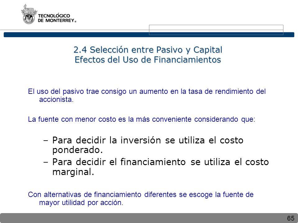65 2.4 Selección entre Pasivo y Capital Efectos del Uso de Financiamientos El uso del pasivo trae consigo un aumento en la tasa de rendimiento del accionista.