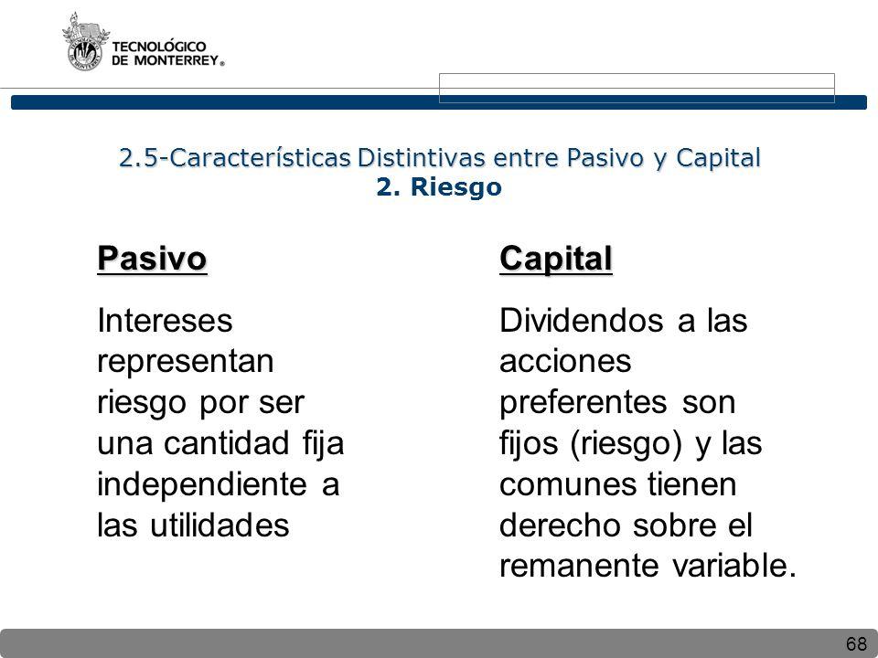 68 2.5-Características Distintivas entre Pasivo y Capital 2.5-Características Distintivas entre Pasivo y Capital 2. Riesgo Pasivo Intereses representa